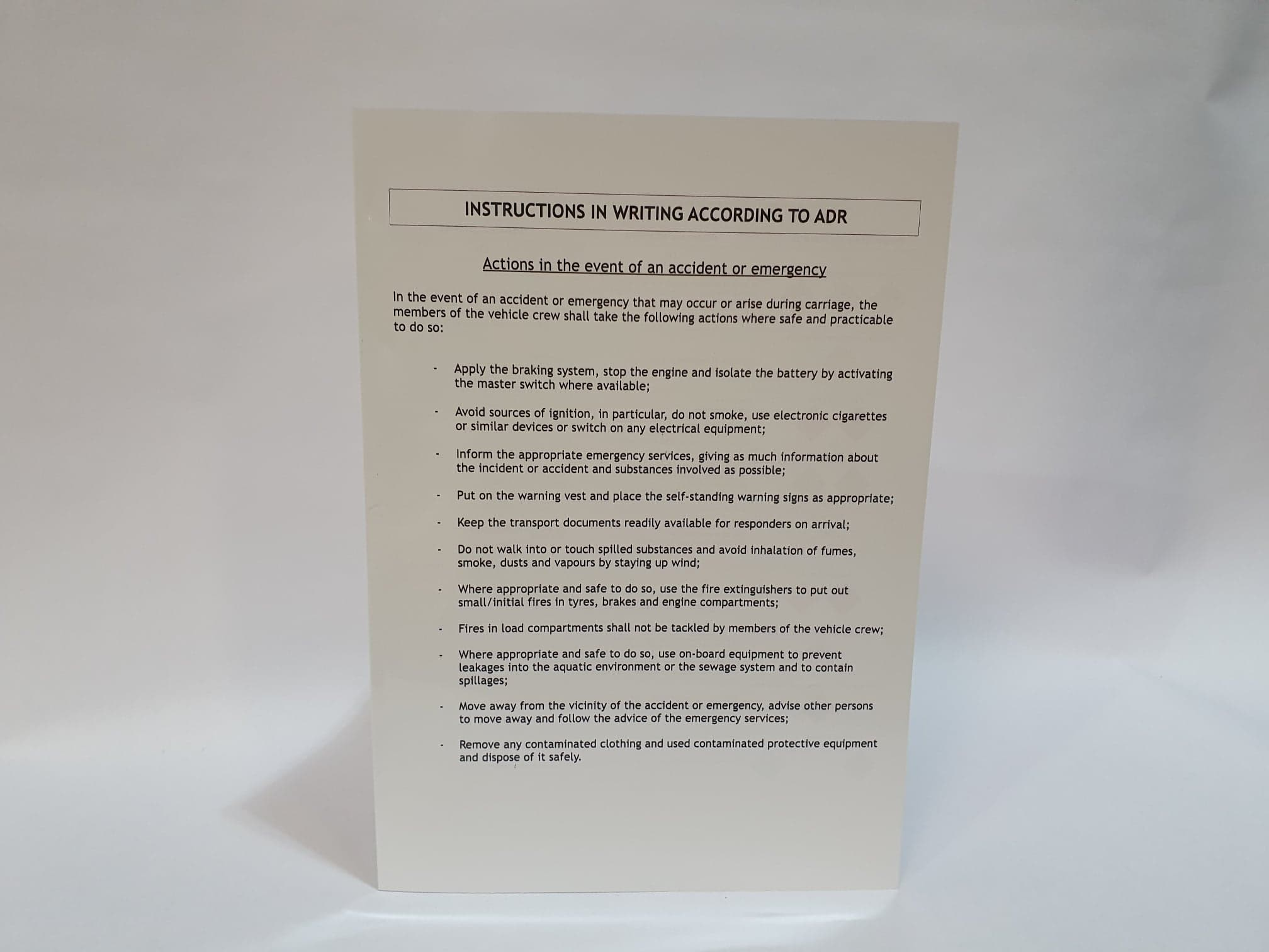 Instructions in Writing (Plastic, Folding)